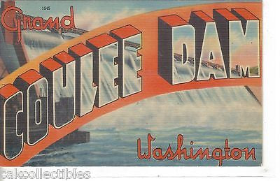 Large Letter Linen-Grand Coulee Dam-Washington - Cakcollectibles - 1