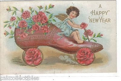 A Happy New Year-Angel Driving Shoe Car of Flowers 1908 - Cakcollectibles - 1