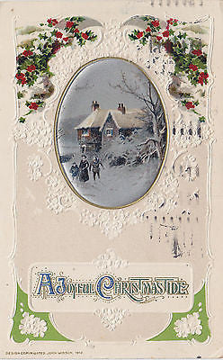 A Joyful Christmas Tide John Winsch Embossed Postcard - Cakcollectibles