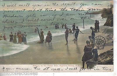 Bathing on The Ocean Side-Highland Beach,New Jersey 1907 - Cakcollectibles