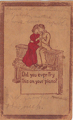 """Did You Ever Try This On Your Piano?"" Comic Leather Postcard - Cakcollectibles - 1"