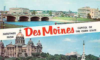"Greetings From Des Moines ""Capitol Of The Corn State"" Postcard - Cakcollectibles"