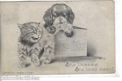 """She Loves Me..She Loves Me Not""-Puppy and Kitten 1910 (Colby) - Cakcollectibles - 1"