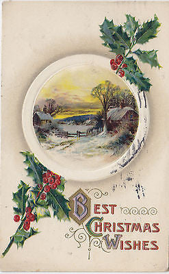 Best Christmas Wishes John Winsch Embossed Postcard - Cakcollectibles