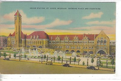 Union Station,showing Plaza and Fountains-St. Louis,Missouri - Cakcollectibles