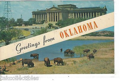 Greetings from Oklahoma-State Capitol and Buffalo - Cakcollectibles