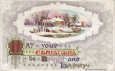 """May Your Christmas Be Bright And Happy "" John Winsch Postcard - Cakcollectibles - 1"