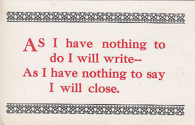As I Have Nothing To Do Quote Postcard - Cakcollectibles