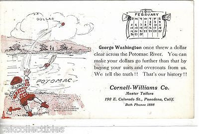 Advertising Post Card-Cornell-Williams Co.-Pasadena,Cal. (George Washington) - Cakcollectibles - 1