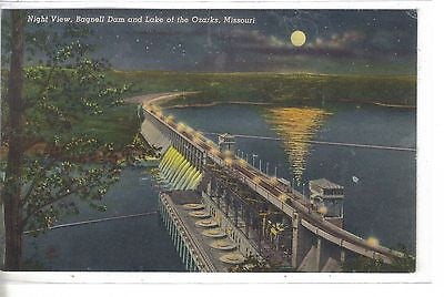 Night View-Bagnell Dam and Lake of The Ozarks-Missouri - Cakcollectibles