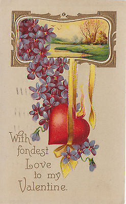 With Fondest Love To My Valentine Postcard - Cakcollectibles - 1