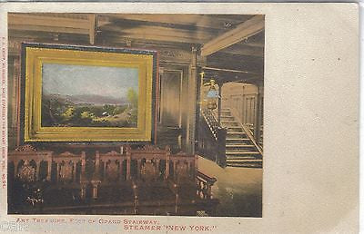"Art Treasure,Foot of Grand Stairway-Steamer ""New York"" UDB - Cakcollectibles"