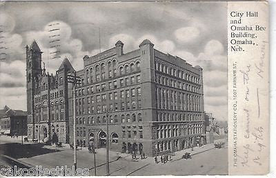 City Hall and Omaha Bee Building-Omaha,Nebraska 1908 - Cakcollectibles