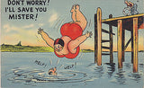 """Don't Worry Mister ! I'll Save You!"" Linen Comic Postcard - Cakcollectibles - 1"