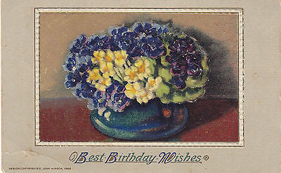 """ Best Birthday Wishes "" Floral Basket John Winsch Postcard - Cakcollectibles - 1"