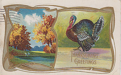 Autumn Scene Thanksgiving Greetings Turkey Holiday Postcard - Cakcollectibles - 1