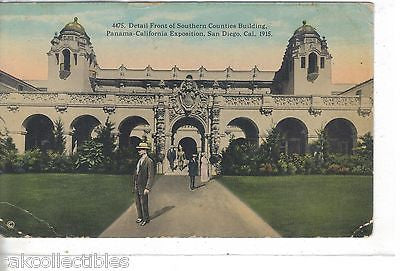 Detail Front of Southern Counties Building-Panama-California Expo 1916 - Cakcollectibles