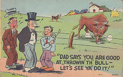 """Good Throwin' The Bull"" Linen Comic Postcard - Cakcollectibles - 1"