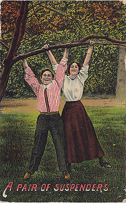 A Pair Of Suspenders Comic Postcard - Cakcollectibles