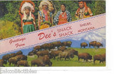 Greetings from Dee's Snack Shack-Shelby,Montana (Buffalo and Native Americans) - Cakcollectibles - 1