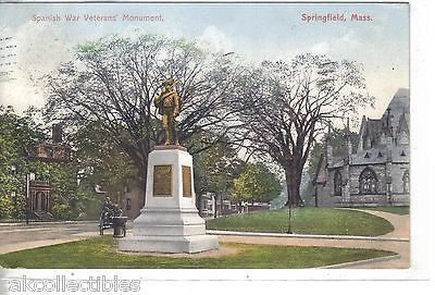 Spanish War Veterans' Monument-Springfield,Massachusetts 1909 - Cakcollectibles