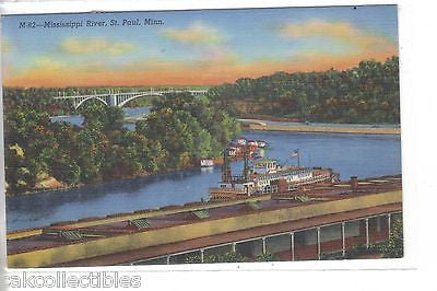 Mississippi River at St. Paul,Minnesota 1946 - Cakcollectibles