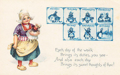 Each Day Of The Week Comic Postcard - Cakcollectibles