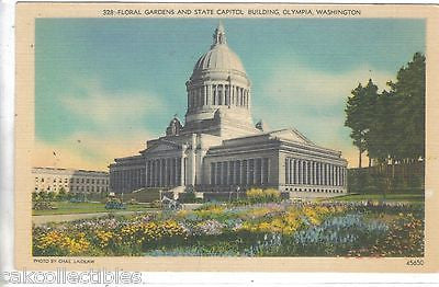 Floral Gardens and State Capitol Building-Olympia,Washington 1947 - Cakcollectibles