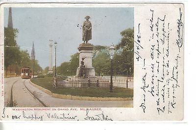 Washington Monument on Grand Avenue-Milwaukee,Wisconsin 1906 - Cakcollectibles