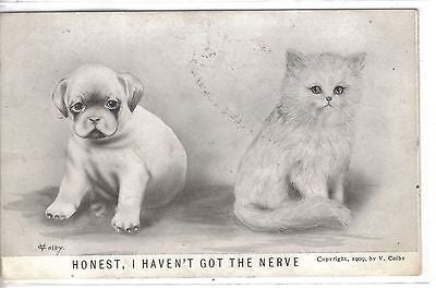 """Honest,I Haven't Got The Nerve""-V.Colby (Puppy and Kitten) - Cakcollectibles"