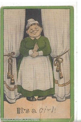 """It's A Girl"" Post Card 1917 - Cakcollectibles - 1"