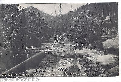 Rattlesnake Creek above Kelley's-Montana 1908 - Cakcollectibles
