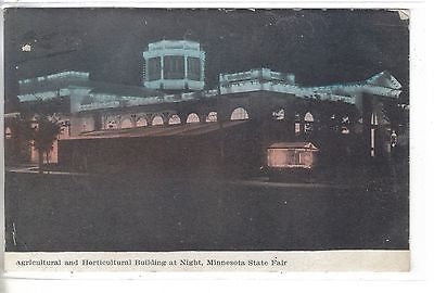 Agricultural & Horticultural Building at Night-Minnesota State Fair 1909 postcard front