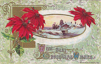 With Best Christmas Wishes Winter Scene John Winsch Postcard - Cakcollectibles
