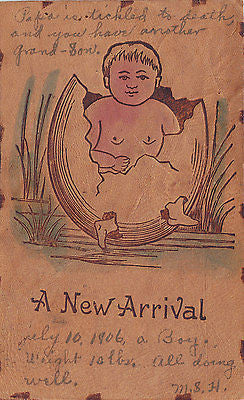 """A New Arrival"" Comic Leather Postcard - Cakcollectibles - 1"