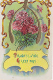 Thanksgiving Greetings Fall Blooms Gold Ribbon Holiday Postcard - Cakcollectibles - 1