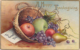A Happy Thanksgiving To Greet You Fruit Basket Postcard - Cakcollectibles - 1