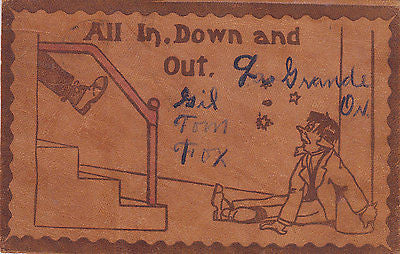 """All In, Down And Out"" Comic Leather Postcard - Cakcollectibles - 1"