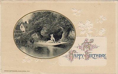 A Happy Birthday Beautiful Scenic John Winsch Postcard - Cakcollectibles