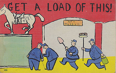 """Get A Load Of This"" Linen Comic Postcard - Cakcollectibles - 1"