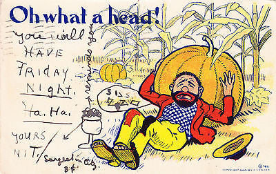 Oh What A Head Comic Postcard - Cakcollectibles