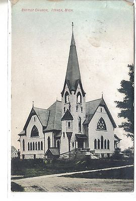 Baptist Church-Ithaca,Michigan 1909 Postcard Front