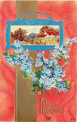Sweet Memories Country Landscape Flower Postcard - Cakcollectibles
