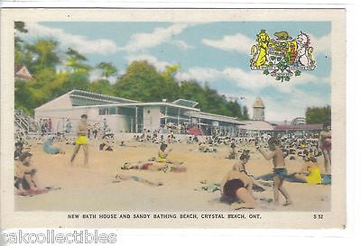 New Bath House and Sandy Bathing Beach,Crystal Beach-Ontario,Canada - Cakcollectibles