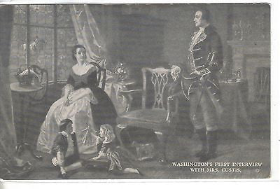 Washington's First Interview with Mrs. Custis Vintage Postcard Front