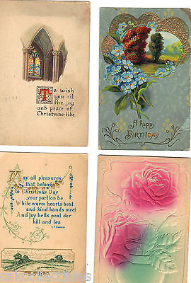 Lot of 4 Antique Christmas Post Cards-Lot 1 - Cakcollectibles - 1