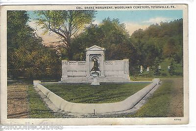 Col. Drake Monument,Woodlawn Cemetery-Titusville,Pennsylvania - Cakcollectibles