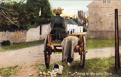 Going To The Market In Style Comic Postcard - Cakcollectibles