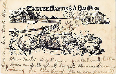 Excuse Haste & A Bad Pen Comic Postcard - Cakcollectibles