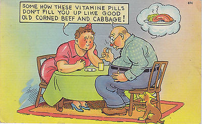 Couple On Diet Linen Comic Postcard - Cakcollectibles - 1